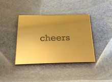 Reverse laser etched Gold Acrylic cheers